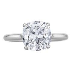 2,32 Karat Kissen-Brillantschliff Diamant-Platin-Verlobungsring