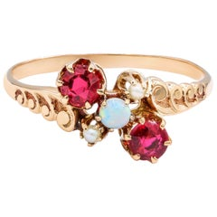 Rose Gold Ruby and Opal Fashion Ring 1.00 Carat