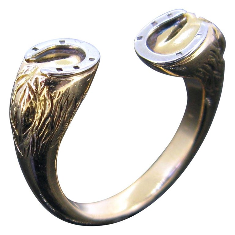 Gucci Equestrian Horseshoe Yellow White Gold Fashion Ring For Sale