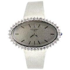 Longines 1960s Lady Diamond White Gold Manual Wind Wristwatch
