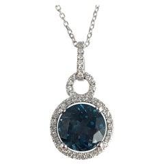 2.45 Carat London Blue Topaz and Diamond Halo Pendant in 14 Karat White Gold