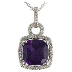 2.20 Carat Cushion Cut Fine Amethyst and Diamond Halo Pendant in 14 Karat Gold