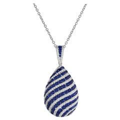 1.74 Carat Sapphire and 0.70 Carat Diamond Swirl Pendant in 18 Karat White Gold