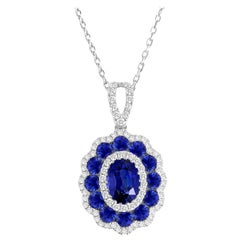 1.91 Carat Sapphire and Diamond Halo Flower Pendant in 18 Karat White Gold
