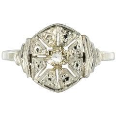 1925s French Art Deco 18 Karat White Gold Diamond Ring