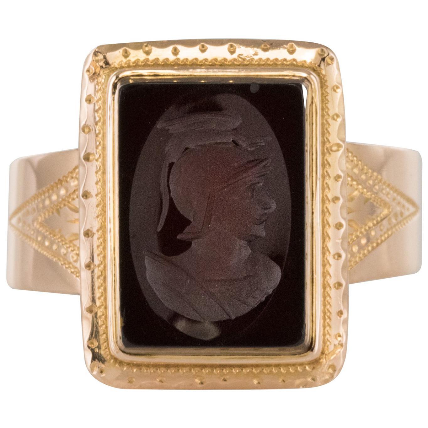 French Napoleon Third 19th Century Carnelian Intaglio Gold Signet Ring