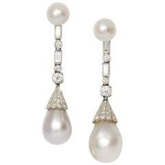 SSEF Certified 60 and 44 Grain Natural Pearl Diamond Drop Earrings