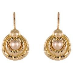 French Art Deco 1930s 18 Karat Rose Gold Drop Earrings