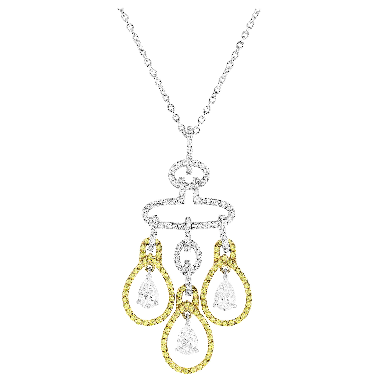 DiamondTown 2.69 Carat Yellow and White Diamond Chandelier Pendant
