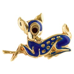 Blue Enamel and 18 Karat Yellow Gold Fawn Deer Brooch
