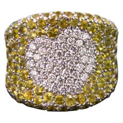 Pasquale Bruni Yellow Sapphires Diamonds Heart Band Fashion Cocktail Ring