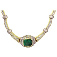 Emerald and Baguette Diamond Gold Necklace