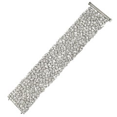 47.58 Carat Mixed Cut White Diamond White Gold Bracelet