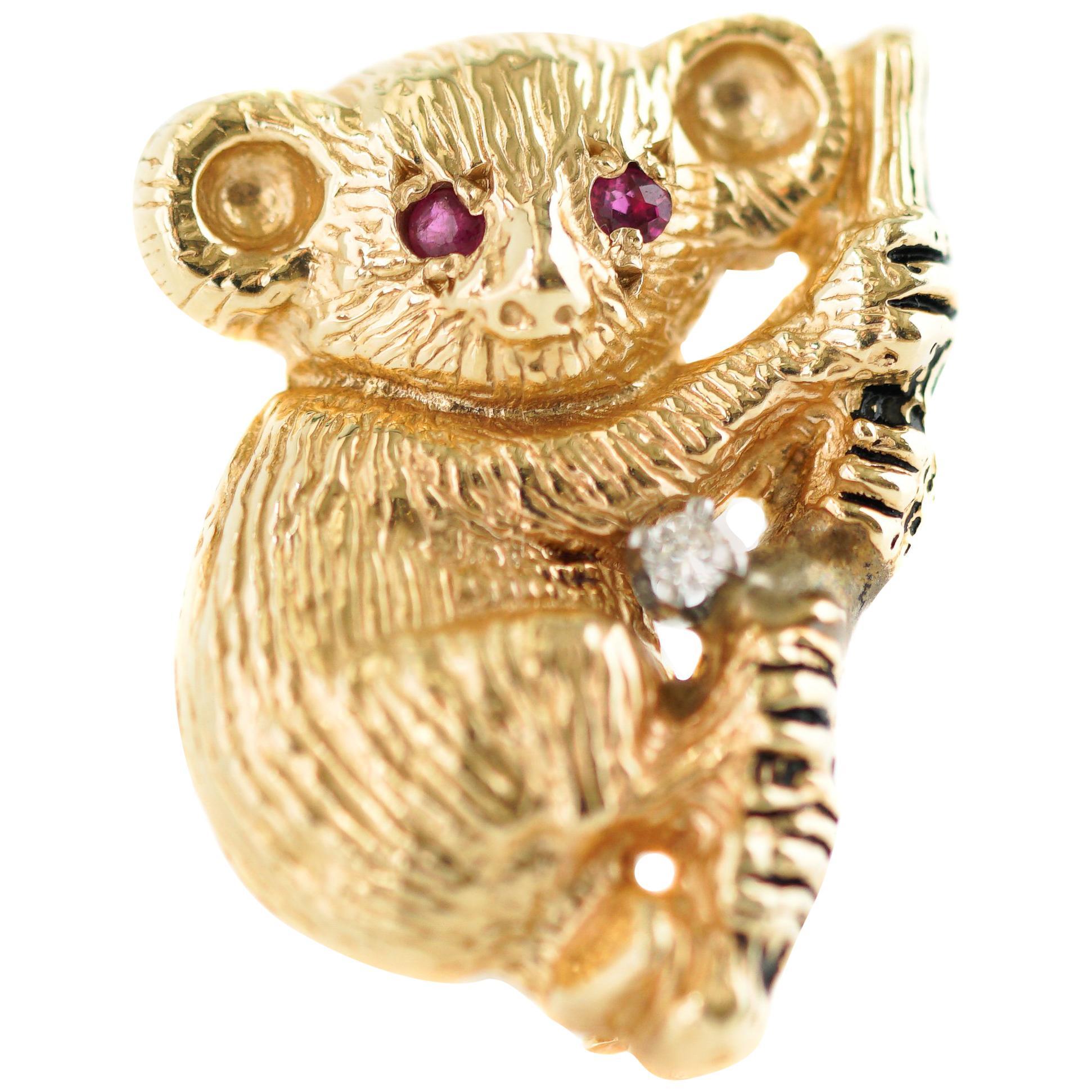 Koala Brooch Pendant in 14 Karat Yellow Gold