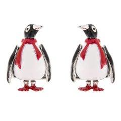 Jona Sterling Silver Enamel Penguin Cufflinks