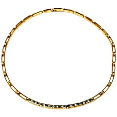Rare Tiffany & Co. 18 Karat Yellow Gold Choker with Sapphires and Diamonds