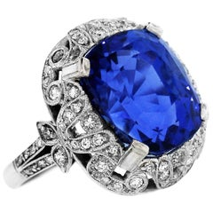 Burma Blue Sapphire Ring with Diamonds Platinum GIA Certified