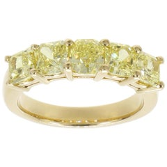 3.14 Carat Yellow Diamond Yellow Gold Eternity Band Ring
