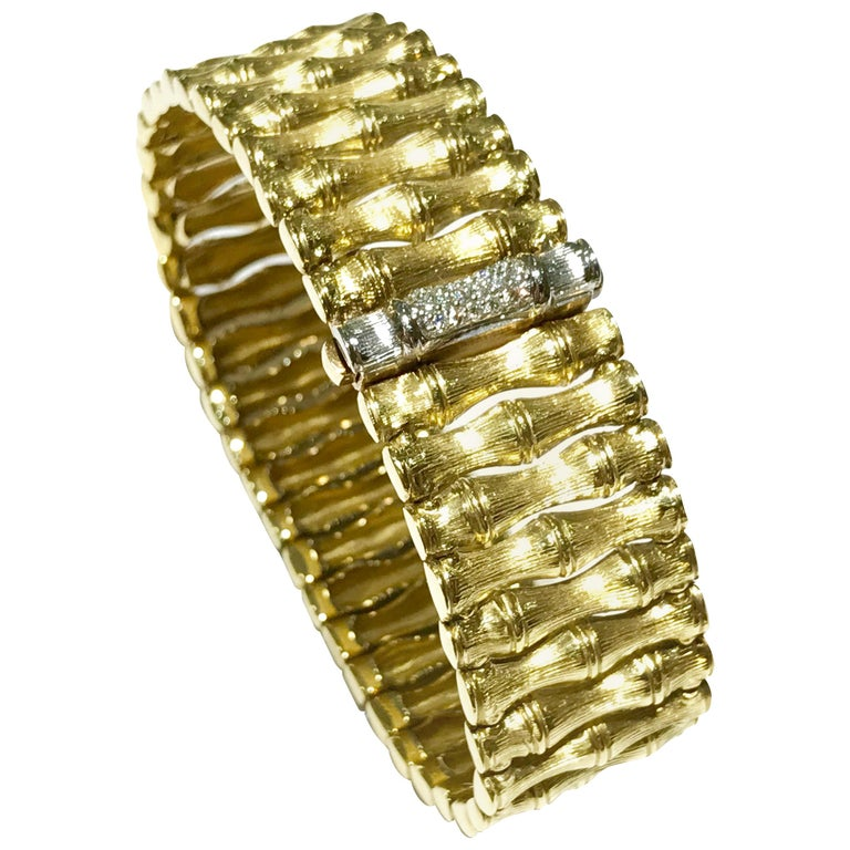 Roberto Coin Bamboo Bracelet in 18 Karat Yellow Gold For Sale
