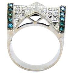 Koduramana Roof Design with Blue and Gray Diamonds Ring