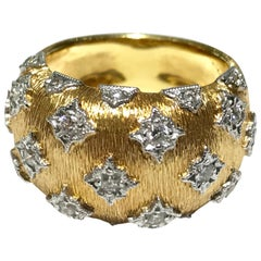 Buccellati inspired ring in 18kyg with 23 diamonds 0.47ct dia brushed finish