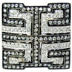 Statement Mosaic Ring in White and Black Diamonds in 18 Karat White Gold