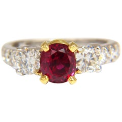 GIA Certified 1.83ct oval cut pigeons blood red ruby 1.02ct diamonds ring 18kt