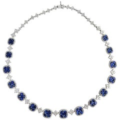 21.23 Carat Vivid Blue Sapphire and Diamond Necklace in 18 Karat White Gold