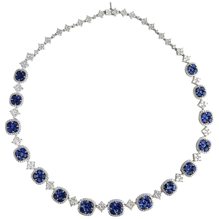 21.23 Carat Vivid Blue Sapphire and Diamond Necklace in 18 Karat White Gold For Sale