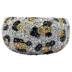 Leopard Print Diamond and Colored Diamond in 18 Karat White Gold Ring