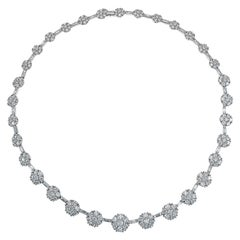 21.84 Carat Diamond Flower Cluster Necklace in 18 Karat White Gold