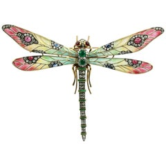 Plique à Jour Huge Diamond Gemstone Dragonfly Brooch 18 Karat