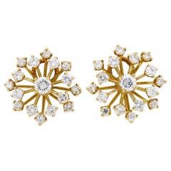 Diamond Starburst Earrings Clip-On Screw Back