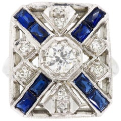 Vintage Blue Sapphire and Diamond Shield Ring
