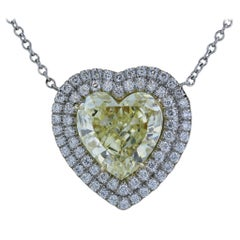 2.59 Carat Canary Heart Shape Diamond Pendant GIA FY VS1