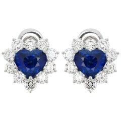 4.91 Carat Heart Shaped Sapphire and Diamond Earrings