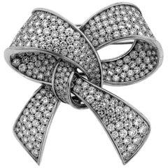 Diamond Ribbon Ladies Ribbon Brooch