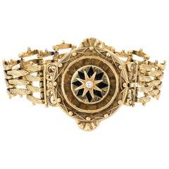 Vintage Victorian Revival Bracelet Diamond Enamel 14 Karat Gold Estate Jewelry