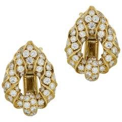 Marina B. 18 Karat Yellow Gold Diamond Clip Earrings