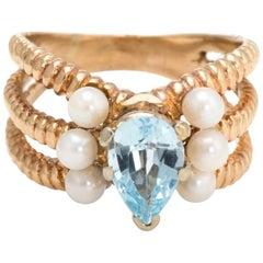 Vintage Cocktail Ring Blue Topaz Cultured Pearl 14 Karat Gold Estate Jewelry