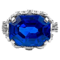 Contemporary Ceylon Sapphire Diamond Ring 14.67 cts
