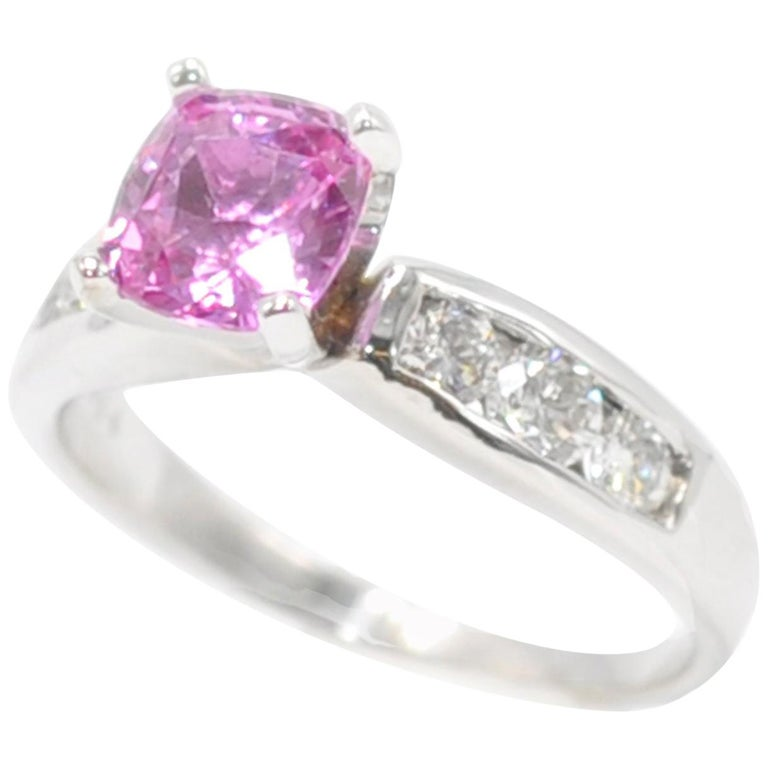 White Gold Cushion Cut Pink Sapphire And Diamond Ring