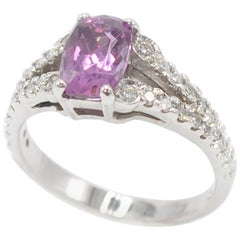 White Gold Radiant Cut Rhodolite Garnet Diamond Ring