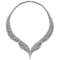 Qayten 18K white gold necklace and pavé diamonds 30.44 ct