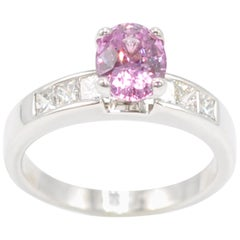 White Gold Oval Pink Sapphire and Diamond Ring