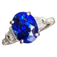 4.60 Carat tw Oval Natural Fancy Blue Sapphire & Diamond Ring 18k W - Ben Dannie