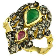 Georgios Collections 18 Karat Gold Diamond Emerald Ruby Ring with Black Rhodium