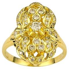 Georgios Collections 18 Karat Yellow Gold Diamond Byzantine Pasha Long Ring