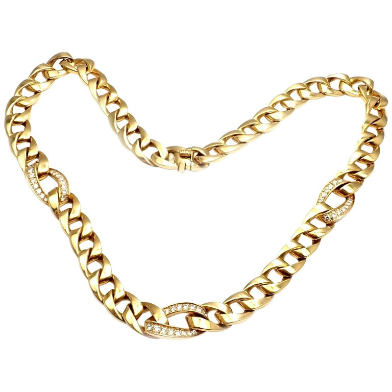 Cartier Diamond Link Yellow Gold Chain Necklace For Sale