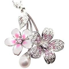 Mikimoto Sakura Diamond Pink Sapphire Pearl Flower White Gold Necklace